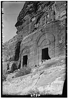 Wadi ed-D r. Petra. Arched topped tombs in Wadi ed-D r. West side of lower end of valley LOC matpc.00250.jpg