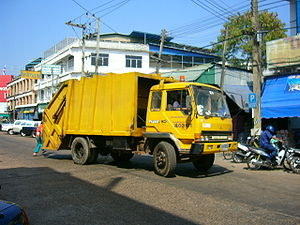 Waste collection - A waste collection vehicle in Sakon Nakhon, Thailand.