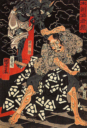 Watanabe no Tsuna - Watanabe no Tsuna fighting with Ibaraki at the Rashomon gate, woodblock print by Utagawa Kuniyoshi