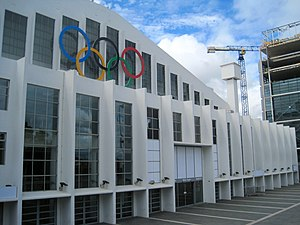 Wembley Arena with Olympic rings.jpg