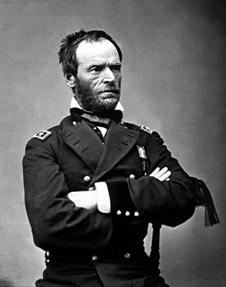 William Tecumseh Sherman - Sherman as a major general in May 1865. The black ribbon of mourning on his left arm is for U.S. President Lincoln. Portrait by Mathew Brady.