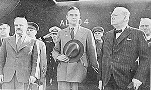 W. Averell Harriman - W. Averell Harriman (center) with Winston Churchill (right) and Vyacheslav Molotov (left)