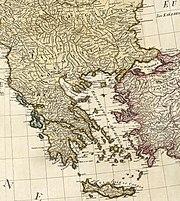 Τμήμα χάρτη της Μεσογείου του Άγγλου χαρτογράφου Γουίλιαμ Φέηντεν (1785).
