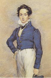 Three-quarter length portrait of youth, looking at viewer, wearing blue jacket and white trousers