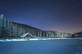 Winter cottage at night at Pokljuka