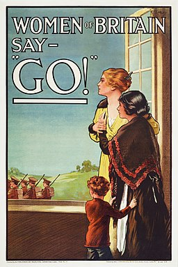 "Women of Britain Say - ""Go"" - World War I British poster by the Parliamentary Recruiting Committee, art by E J Kealey (Restoration)"