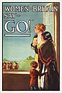 "Women of Britain Say - ""Go"" - World War I British poster by the Parliamentary Recruiting Committee, art by E J Kealey (Restoration).jpg"