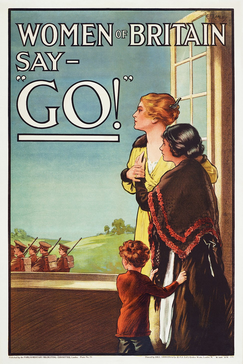 """Women of Britain Say - """"Go"""" - World War I British poster by the Parliamentary Recruiting Committee, art by E J Kealey (Restoration)"""