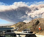 Woolsey Fire smoke plume and evacuation