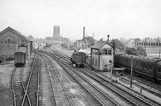 Wrexham Central railway station - View SE towards Station in 1959