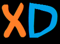 XD in orange and blue on a black background.png