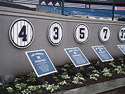 The first four in the row of retired numbers