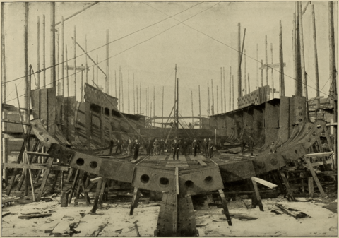 Yashima under construction, about two months after her keel was laid down Yashima (ship, 1897) - After Two Months - Cassier's 1898-02.png