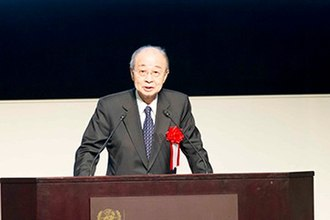Yasushi Akashi - Akashi addressed the Commemorative Ceremony of the 60th Anniversary of Japan's Accession to the United Nations (at the United Nations University on December 19, 2016)