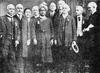 Autobiography of a Yogi - A 1920 photograph published in Autobiography of a Yogi, showing Yogananda attending a religious congress upon his arrival in the United States