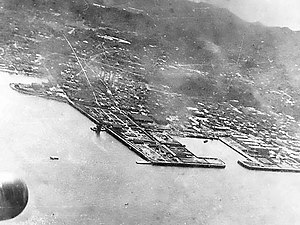 Attack on Yokosuka - Part of Yokosuka Naval Arsenal photographed during the Doolittle Raid in April 1942