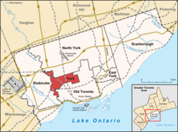 Location of York (red), as compared with the rest of Toronto.