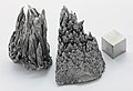 Yttrium sublimed dendritic and 1cm3 cube.jpg