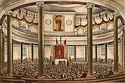 Zeitgenössige Lithografie der Nationalversammlung in der Paulskirche