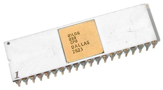 Zilog's iconic 8-bit processor, the Z80. Pictured is one of the first Z80s ever made. Zilog Z80.jpg