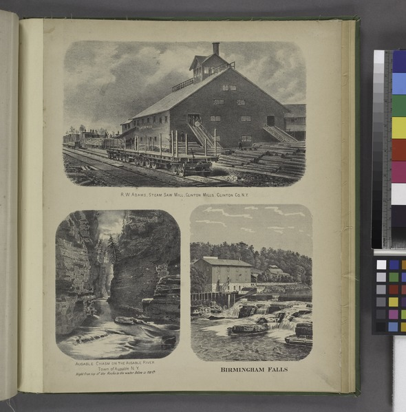 "File:""R.W. Adams, Steam Saw Mill, Clinton Co. N.Y; Ausable Chasm on the Ausable River. Town of Ausable N.Y; Birmingham Falls"" NYPL1576116.tiff"