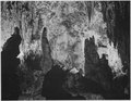 """Stalagmites and stalactites, 'In the Queen's Chamber,' Carlsbad Caverns National Park,"" New Mexico., 1933 - 1942 - NARA - 520034.tif"