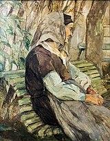 (Albi) Vieille femme assise sur un banc à Céleyran - Toulouse-Lautrec 1882 - Musée Toulouse-Lautrec.jpg