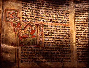 Sagas of Icelanders - Detail of a miniature from a 13th-century Icelandic manuscript.