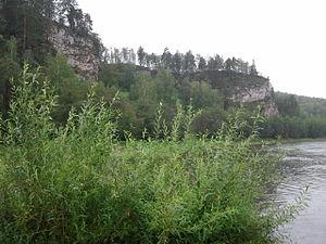 Ay River - Rocky ledge near the river Ay