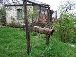 Butter churn - An old vertical butter churn in Artsakh Republic.