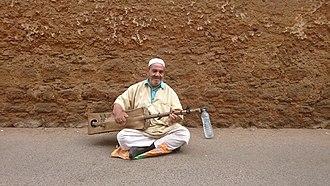 Gnawa music - Gnawa singer in Salé, Morocco.