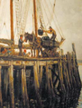 'Unloading coal at a wood jetty – Holy Island' by Ralph Hedley.png