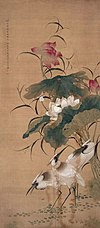 Painting of lotus flowers and birds by Li Yin