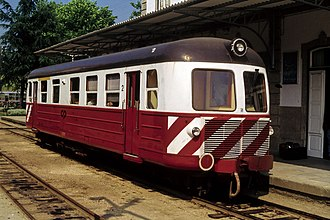 NOHAB - A NOHAB-built metre gauge Série 9100 diesel railcar of the Portuguese Railways at Amarante station on the Tâmega line, northern Portugal (1996)