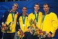 141100 - Swimming 4 x 100m freestyle 34pts Alex Harris Cameron De Burgh Ben Austin Scott Brockenshire silver medals - 3b - 2000 Sydney medal photo.jpg
