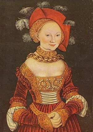 Emilie of Saxony - Lucas Cranach the Elder - Emilie of Saxony, detail of a painting from 1535, oil on a poplar panel, Kunsthistorisches Museum, Vienna
