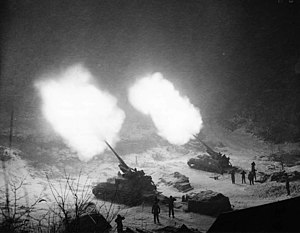 Arkansas Army National Guard and the Korean War - A pair of M-40 155mm Gun Motor Carriages of Battery B, 937th Field Artillery Battalion, from Paris, Arkansas, providing fire support to U.S. Army 25th Infantry Division, Munema, Korea, November 26, 1951