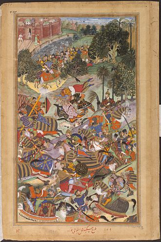 History of Ahmedabad - The battle between the Mughal Imperial Army and Muhammad Husain Mirza near Ahmadabad in 1573. From Akbarnama.