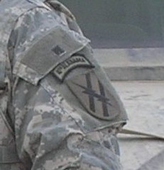 167th Infantry Regiment (United States) - As worn over 48th Infantry Brigade Combat Team patch. 1-167th was attached to the then-48th Heavy Brigade Combat Team during their 2005 deployment to Iraq.