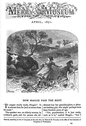 "Merry's Museum - ""How Maggie Paid the Rent,"" Merry's Museum, April 1871."