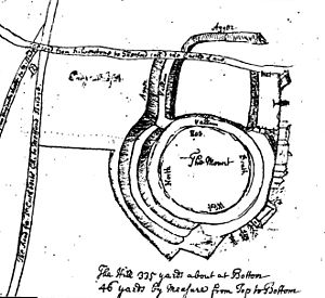 Thetford Castle - 1740 plan of Thetford Castle, including the east bank destroyed in 1772