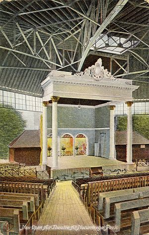Norumbega Park - Image: 1910 08 30 MA Auburndale Norumbega Park New Open Air Theater 01