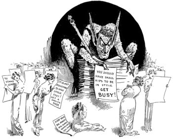 Viñeta de 1913 de la antigua revista Life sobre los dictados de la moda
