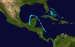 1933 Atlantika tropika ŝtormo 1 track.png