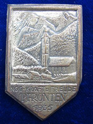 Pfronten - 1935 KdF pin depicting the St. Nikolaus Church in Pfronten
