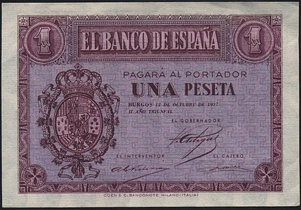 Bank note issued by the Nationalist government in October 1937 with the coat of arms of Alfonso XIII. 1937 BandoNacional billete1peseta Burgos escudomonarquia.jpg