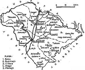 Râmnicu Sărat County - Image: 1938 map of interwar county Ramnicu Sarat