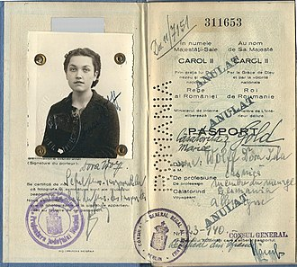 Constantin Karadja - 1940 passport annotation signed by Constantin Karadja, Berlin. The passport holder may have been a Jewish woman.