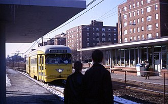 Blue, Green, and Waterfront Lines (Cleveland) - A PCC streetcar at Shaker Square in 1968.