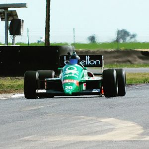 Benetton B186 - 1986 Benetton B186 BMW Formula 1 car (chassis 5) being tested at Mallala Motorsport Park in South Australia in 2016.